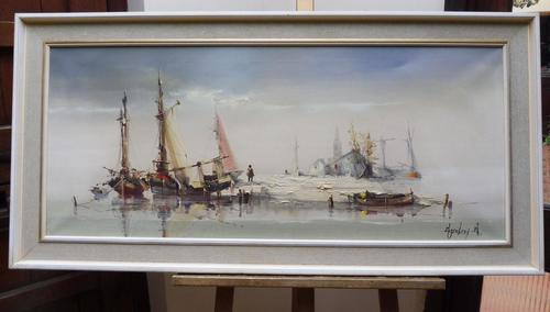 Large oil on canvas seascape listed artist Jorge Aguilar 1970's (1 of 10)