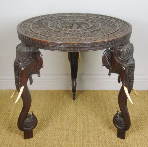 Anglo Indian Carved Elephant Table Early 20th Century (1 of 11)