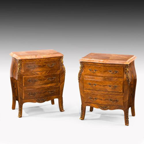 Unusual Pair of Kingwood Bombe Dwarf Commodes or Chests (1 of 5)