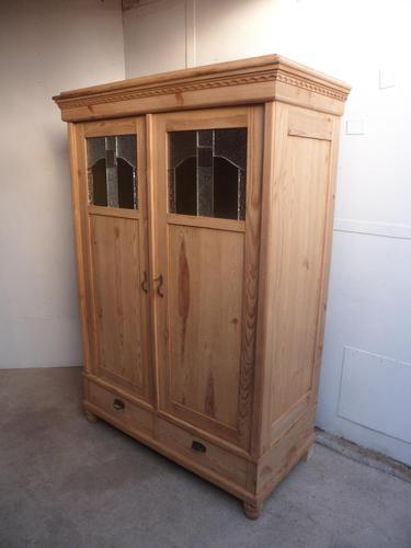 Original Arts & Crafts Antique Pine 2 Door Knockdown Wardrobe to wax / paint (1 of 11)