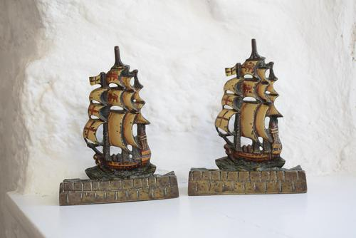 Pair of Painted Bronze Sailing Ship Doorstops or Bookends (1 of 10)