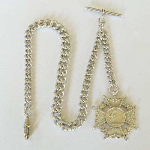 Heavy Antique Silver Watch Chain & Fob, 86g (1 of 4)