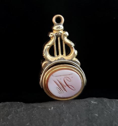 Antique 9ct gold spinning fob, seal fob, Sardonyx and Bloodstone (1 of 12)