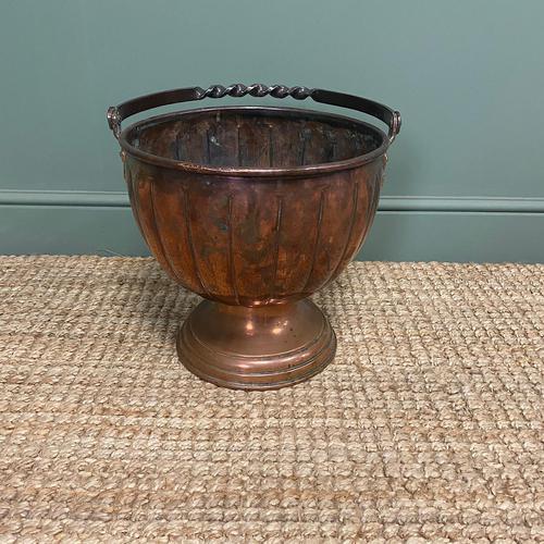 Unusual Arts & Crafts Copper Antique Coal Bucket (1 of 6)