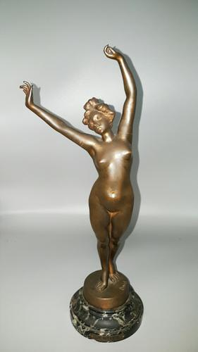 Original Early 20th Century Art Deco Bronze Nude 'le Réveil' / The Awakening by Fernand David, Signed (1 of 9)