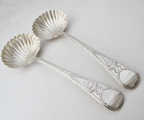 Perfect Georgian Silver Ladles Shell Bowls William Eaton London 1825 (1 of 6)