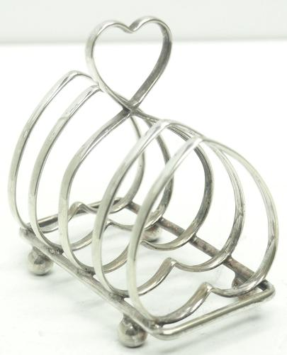 English Antique Solid Silver Heart Shaped Toast Rack, Super Design Fresh & Clean c.1920 (1 of 4)