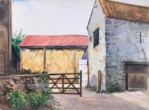 Original Watercolour 'Farmyard, Kenn, Somerset' by Percy Paddern (1 of 2)
