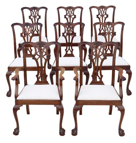 Set of 8 (6+2) mahogany dining chairs Georgian revival C1910 (1 of 11)