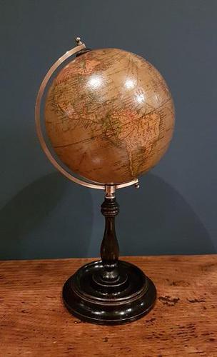 "Antique 6"" Papier Mache Terrestrial Globe (1 of 7)"