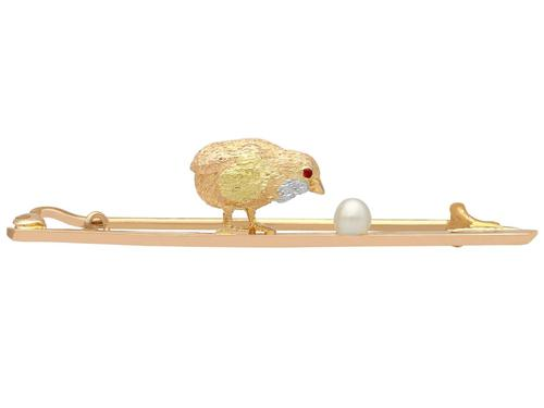 Seed Pearl and Ruby, 15ct Yellow Gold Chick & Egg Bar Brooch - Antique c.1900 (1 of 12)