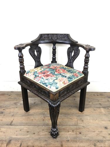 Victorian Carved Oak Corner Chair with Floral Upholstery (1 of 9)