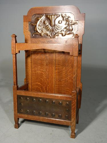 Very Good Early 20th Century Art Deco Oak Hall Stand (1 of 5)