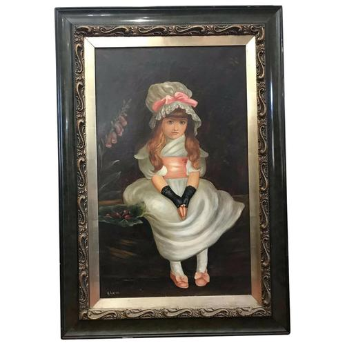 """19th Century Victorian Oil Painting Young Girl Silk White Dress """"Cherry Ripe"""" Portrait After Sir John Everett Millais (1 of 12)"""