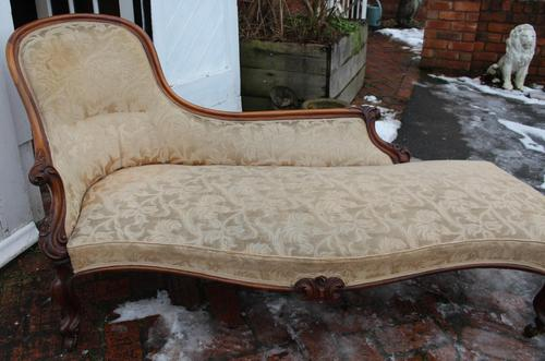 1900's Well Carved Walnut Chaise with Back in Beige. (1 of 4)