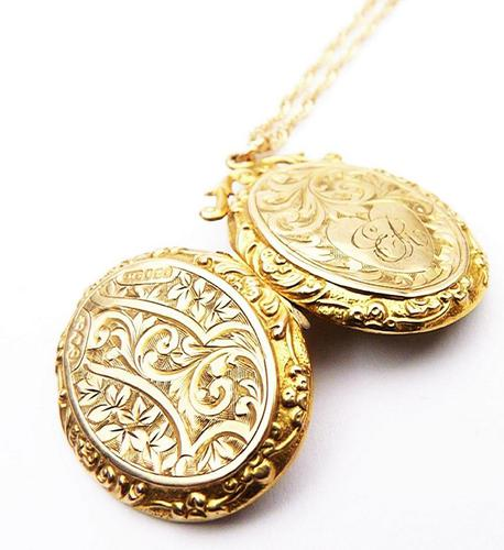 Antique Hallmarked Gold Locket With Necklace (1 of 8)