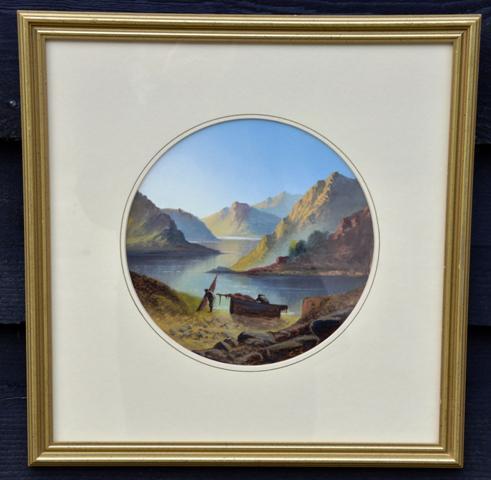 Tranquil 19th Century Gouache Mountain Lakeside Scene (1 of 4)