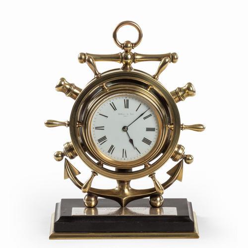 Brass Ship's Novelty Clock Presented to Captain Tynte F Hammill RN (1 of 7)