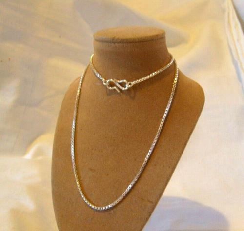 Vintage Silver Necklace 1970s Box Link Unusual Shepherds Hook Clasp (1 of 8)