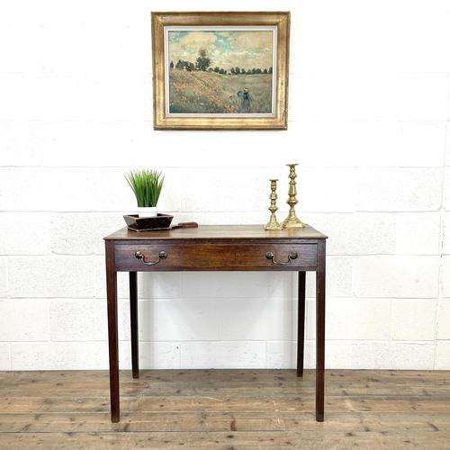 Antique Georgian Oak Side Table with Drawer (1 of 10)