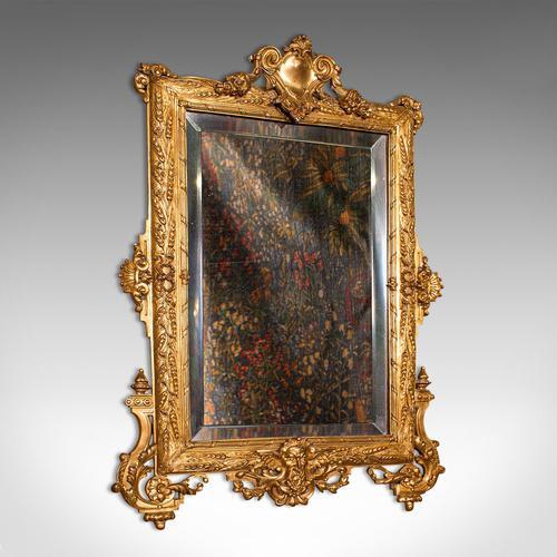 Small Antique Wall Mirror, Italian, Gilt Metal, Decorative, Victorian c.1900 (1 of 1)