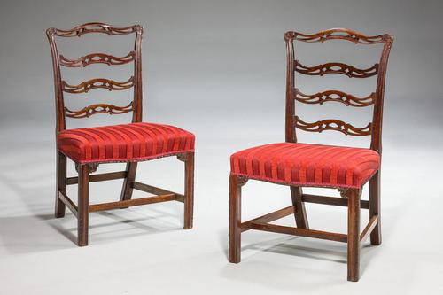 Pair of  Chippendale Period Ladderback Side Chairs (1 of 6)