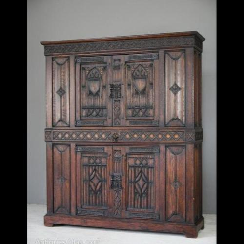 Gothic Carved Oak Cupboard (1 of 6)