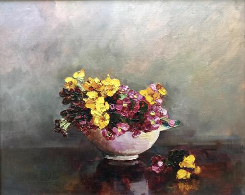Mary E.Oddie Oil Painting - Polyanthus (1 of 4)