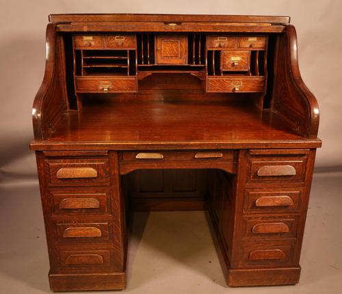Good Oak Roll Top Desk by Maples London (1 of 12)