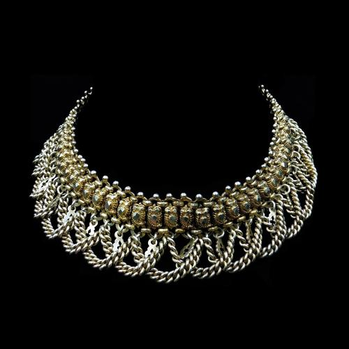 Vintage Aesthetic Gold on Sterling Silver Heavy Fancy Swag Collar Necklace (1 of 7)