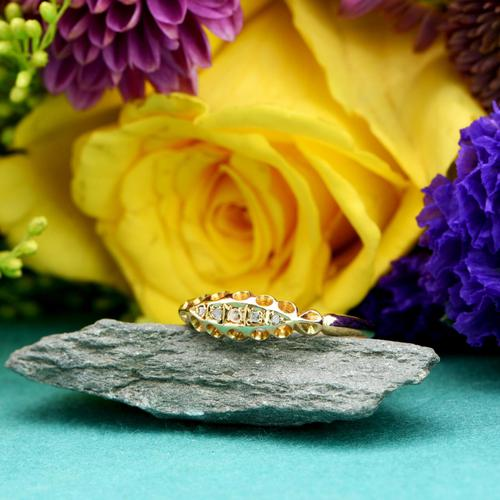 The Antique Edwardian 1904 Five Diamond Gold Ring (1 of 5)