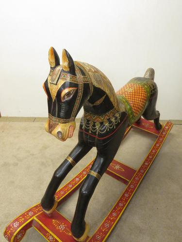 Unusual Asian Painted Rocking Horse (1 of 3)