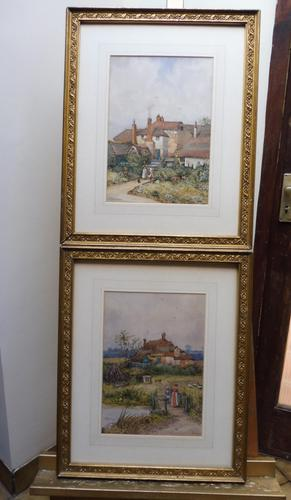 Pair of Watercolours Cottages in Kent Listed Artist Will Anderson (1 of 10)