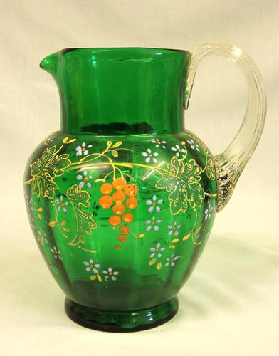 An Antique Green Glass Decorated Jug (1 of 6)