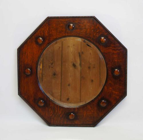 Early 20th c Oak octagonal  bevel edged overmantle mirror (1 of 8)