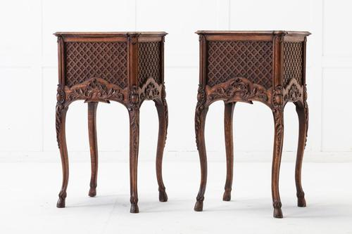 Pair of 19th Century French Oak Bedside Tables (1 of 13)