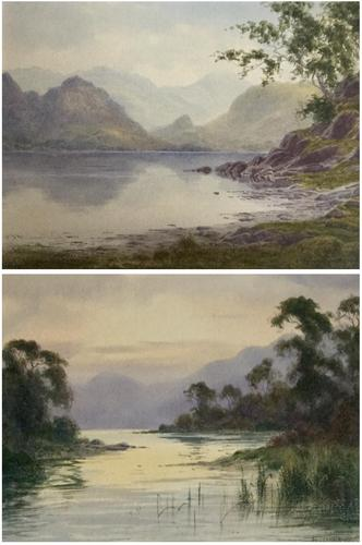 Edward H.Thompson Pair of Wwatercolours of the lake district ' the jaws of borrowdale, derwenter' and   ' eventide,rydal water' (1 of 5)