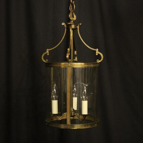 French Convex Gilded Brass Triple Light Antique Hall Lantern (1 of 10)