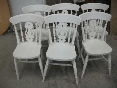 Set of 6 White Fiddle Back Kitchen Chairs (1 of 3)