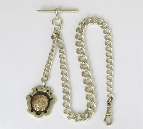 Antique Silver Watch Chain & Football Fob (1 of 4)