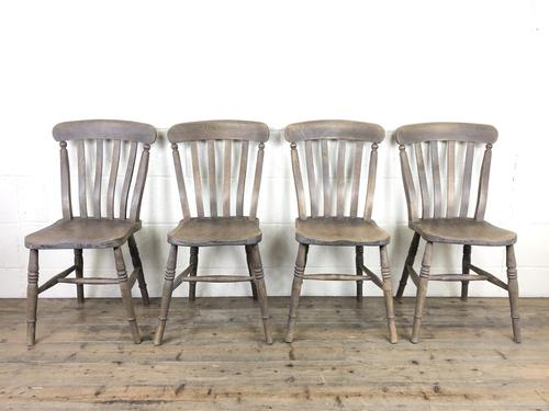 Set of 4 Antique Ash & Elm Farmhouse Chairs (1 of 8)