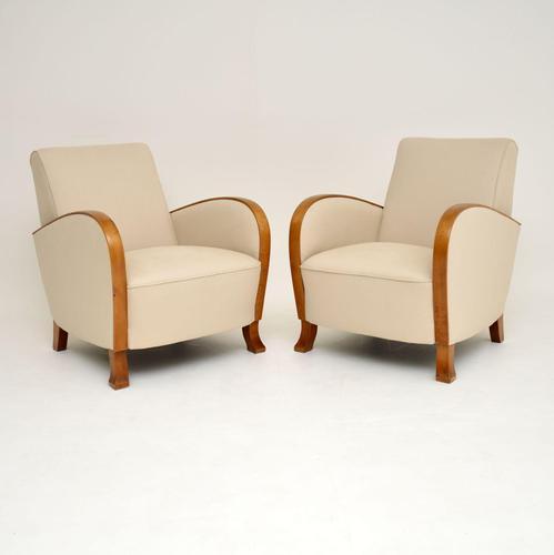 Pair of Swedish  Art Deco Satin Birch Armchairs (1 of 9)