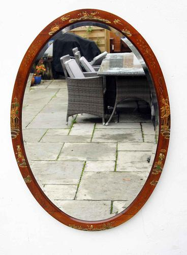 Large Oval Edwardian Mahogany Chinoiserie Decorated Mirror (1 of 16)