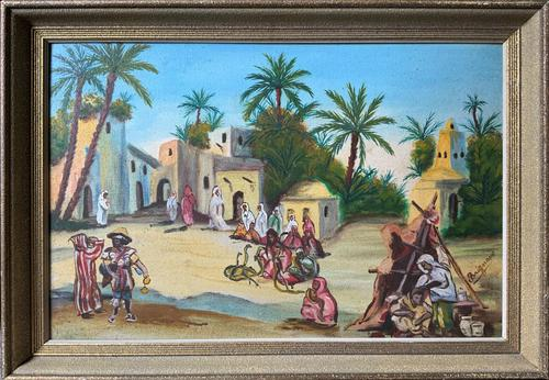 The Snake Charmer - Moroccan School - Vintage - 1960s - Original Oil Painting (1 of 11)