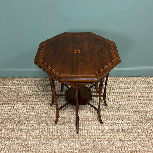 Striking Figured Rosewood Victorian Inlaid Antique Occasional Table (1 of 7)