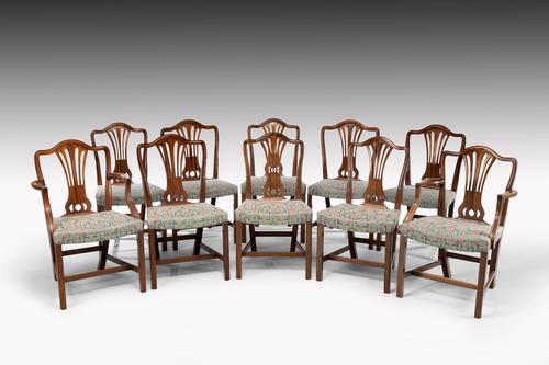 Attractive Set of 10 (8+2) Camel Backed Mahogany Framed Chairs (1 of 7)