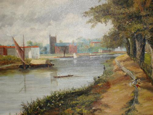 19th Century Oil Painting: Riverside Scene with Boats (1 of 2)