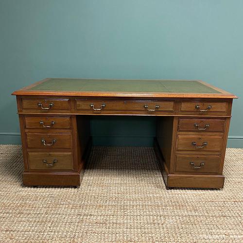 Superb Quality Large Edwardian Walnut Antique Office Desk (1 of 7)