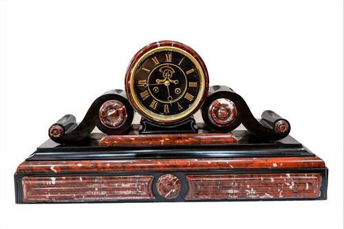 Majestic 1858 French Drumhead Striking Mantel Clock in Black Slate with Rouge / White Marble (1 of 6)