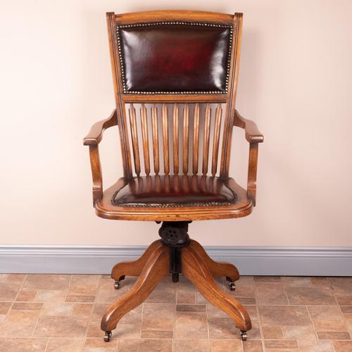 Teak Revolving Office Desk Chair (1 of 17)